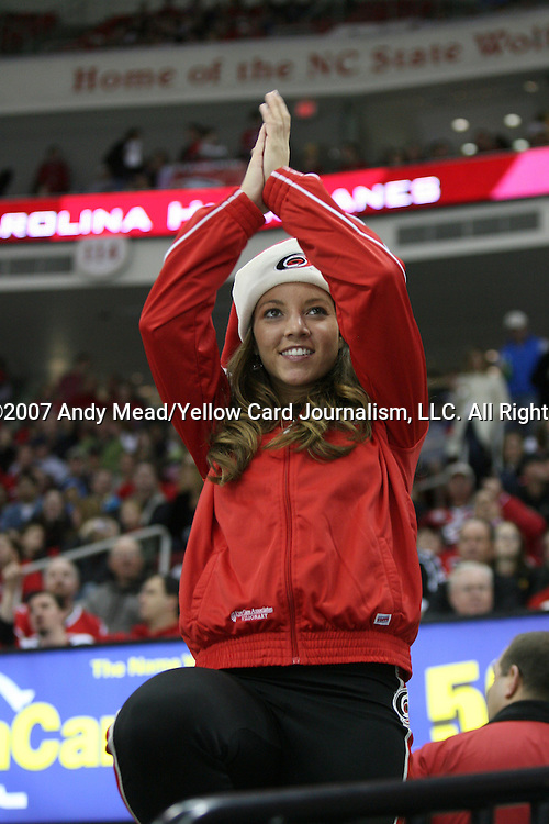 12 December 2007: A member of the Storm Squad, Carolina's cheerleaders. The Ottawa Senators defeated the Carolina Hurricanes 6-0 at the RBC Center in Raleigh, North Carolina in a 2007-08 National Hockey League regular season game.
