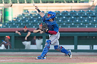 AZL Rangers catcher Xavier Valentin (45) throws to second base during an Arizona League game against the AZL Giants Black at Scottsdale Stadium on August 4, 2018 in Scottsdale, Arizona. The AZL Giants Black defeated the AZL Rangers by a score of 3-2 in the first game of a doubleheader. (Zachary Lucy/Four Seam Images)