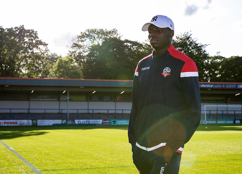 Bolton Wanderers' Yoan Zouma inspecting the pitch before the match<br /> <br /> Photographer Andrew Kearns/CameraSport<br /> <br /> The Carabao Cup First Round - Rochdale v Bolton Wanderers - Tuesday 13th August 2019 - Spotland Stadium - Rochdale<br />  <br /> World Copyright © 2019 CameraSport. All rights reserved. 43 Linden Ave. Countesthorpe. Leicester. England. LE8 5PG - Tel: +44 (0) 116 277 4147 - admin@camerasport.com - www.camerasport.com