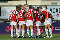 Arsenal huddle during Arsenal Women vs Birmingham City Ladies, FA Women's Super League Football at Meadow Park on 4th November 2018