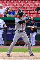 Quad Cities River Bandits first baseman Seth Beer (35) at bat during a Midwest League game against the Kane County Cougars on July 1, 2018 at Northwestern Medicine Field in Geneva, Illinois. Quad Cities defeated Kane County 3-2. (Brad Krause/Four Seam Images)