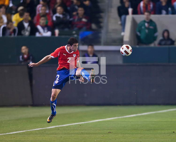 CARSON, CA – JANUARY 22: Chile defender Eugenio Mena (2) during the international friendly match between USA and Chile at the Home Depot Center, January 22, 2011 in Carson, California. Final score USA 1, Chile 1.