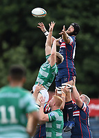 Morgan Eames of Doncaster Knights competes for the ball at a lineout. Pre-season friendly match, between Doncaster Knights and Newcastle Falcons on August 25, 2018 at Castle Park in Doncaster, England. Photo by: Patrick Khachfe / Onside Images