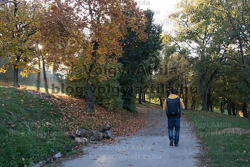 Man enjoys the autumn mood of a public park in Budapest, Hungary on Oct. 20, 2017. ATTILA VOLGYI