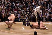 In form Mongolian Harumafuji wins easily against a struggling Bulgarian Kotooshu in the Osaka Spring Tournament.