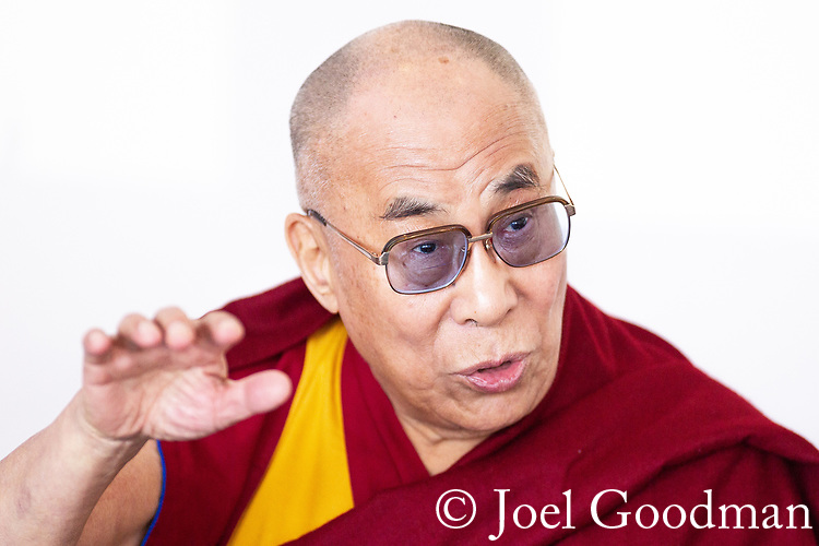 © Joel Goodman - 07973 332324 . 15/06/2012 . Salford , UK . The Dalai Lama holds a press conference at The Lowry Hotel in Salford , Greater Manchester , during a 10 day tour of the UK . Photo credit: Joel Goodman