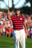 Patrick Reed (Team USA) on the 16th green during Saturday afternoon Fourball at the Ryder Cup, Hazeltine National Golf Club, Chaska, Minnesota, USA.  02/10/2016<br /> Picture: Golffile | Fran Caffrey<br /> <br /> <br /> All photo usage must carry mandatory copyright credit (&copy; Golffile | Fran Caffrey)