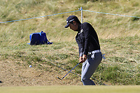 Soomin Lee (KOR) chips onto the 1st green during Friday's Round 2 of the 2018 Dubai Duty Free Irish Open, held at Ballyliffin Golf Club, Ireland. 6th July 2018.<br /> Picture: Eoin Clarke | Golffile<br /> <br /> <br /> All photos usage must carry mandatory copyright credit (&copy; Golffile | Eoin Clarke)