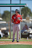 Nathan Stevens during the WWBA World Championship at the Roger Dean Complex on October 18, 2018 in Jupiter, Florida.  Nathan Stevens is a catcher from Waunakee, Wisconsin who attends Waunakee High School and is committed to Arkansas.  (Mike Janes/Four Seam Images)