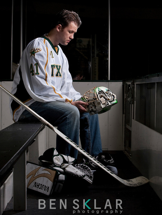 Brent Krahn, goaltender for the Texas Stars AAA hockey team, was named American Hockey League's player of the month in November, but has had a career plagued with injuries and setbacks. Ten years after being drafted second overall in the 2000 NHL draft he lives in Cedar Park with his wife Marcia and two daughters, Melina, 4, and Zoey, 2. The only NHL time he has seen was one period for the Dallas' Stars when gave up three goals in those 20 minutes. Photographed in Cedar Park, Texas on January 19, 2010..