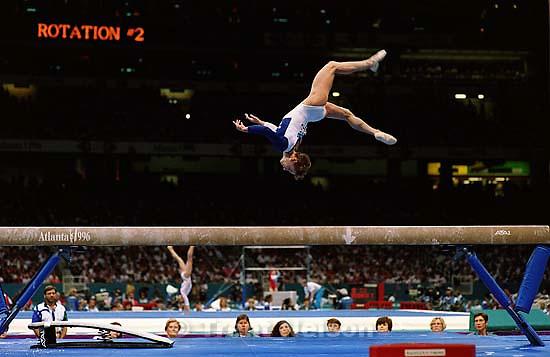 Kerri Strug on beam at Womens Team Gymnastics at the 1996 Summer Olympic Games<br />