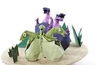 Detail of Origami model.<br /> Dinosaurio Bebe (purple) designed by Fernando Gilgado Gomez, folded by Rosalind Joyce<br /> Baby Maiasaura (green) designed by Yoshihisa Kimura, folded by Rosalind Joyce<br /> Grass designed and folded by Rosalind Joyce