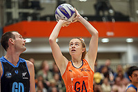 All Stars Monica Faulkner adds to the score during the Cadbury Netball Series match between NZ Men and All Stars at the Bruce Pullman Arena in Papakura, New Zealand on Friday, 28 June 2019. Photo: Dave Lintott / lintottphoto.co.nz