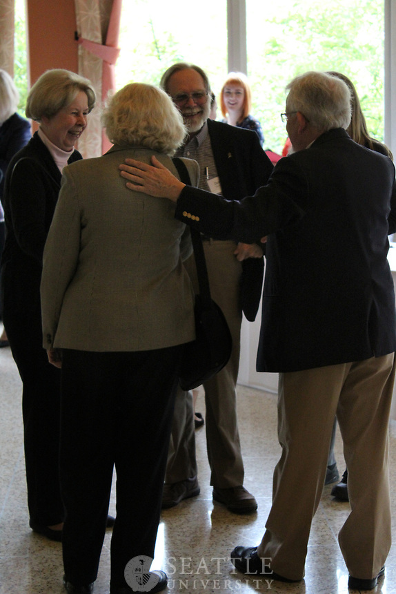 May 18, 2017- Faculty Emeriti and Honored Retirees eat lunch together in Campion Ballroom.