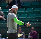 June 11th 2017, Nottingham, England; ATP Aegon Nottingham Open Tennis Tournament day 2;  Sam Groth of Australia querying a line call in his match on centre court against Finn Bass of Great Britain
