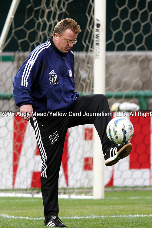 23 April 2005: Revolution head coach Steve Nicol shows off his juggling skills. The New England Revolution defeated DC United 4-3 at RFK Stadium in Washington, DC in a regular season Major League Soccer game. .