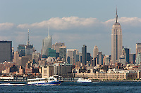 NY Waterway ferries work the Hudson River, with the Manhattan skyline in the background