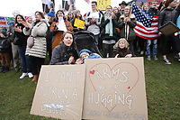People attend the March for Our Lives in front of the Consulate of the United States at the Museumplein in solidarity with the children and families of the American March For Our Lives movement on March 24, 2018 in Amsterdam,Netherlands. March For Our Lives will take to the streets to demand that their lives and safety become a priority and that we end gun violence and mass shootings in our schools today.IMAGE - Paulo Amorim