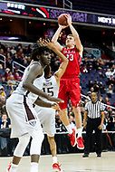 Washington, DC - MAR 10, 2018: Davidson Wildcats forward Peyton Aldridge (23) shoot a jump shot over St. Bonaventure Bonnies forward LaDarien Griffin (15) during semi final match up of the Atlantic 10 men's basketball championship between Davidson and St. Bonaventure at the Capital One Arena in Washington, DC. (Photo by Phil Peters/Media Images International)