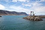 Entrance to Caleta de Sebo harbour La Isla Graciosa, with distant views of cliffs in Lanzarote, Canary Islands, Spain