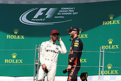 June 11th 2017, Circuit Gilles Villeneuve, Montreal Quebec, Canada; Formula One Grand Prix, Race Day; Lewis Hamilton - Mercedes AMG Petronas wins in Canada and talks with Daniel Ricciardo - Red Bull Racing