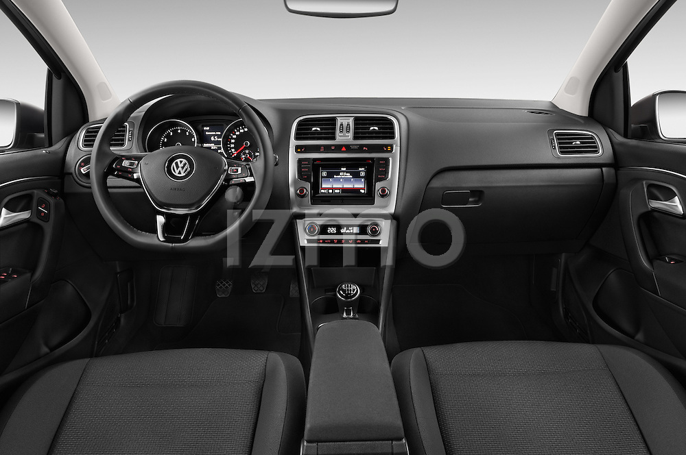 Stock photo of straight dashboard view of a 2014 Volkswagen POLO SPORTLINE 5 Door Hatchback 2WD Dashboard