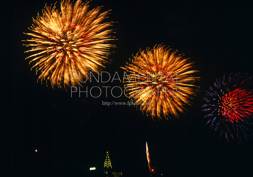 FIREWORKS<br /> An Exothermic Reaction<br /> Composed of potassium chlorate to supply O2 and flammables like starch or petroleum derivatives to combine with the O2 producing heat and light.  Salts of strontium, copper &amp; sodium produce the red, blue &amp; yellow colors.