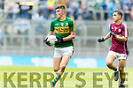 Sean O'Shea Kerry in action against Fionnán Garvey Galway in the All Ireland Minor Football Final in Croke Park on Sunday.