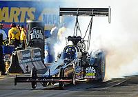 Oct. 14, 2011; Chandler, AZ, USA; NHRA top fuel dragster driver David Grubnic during qualifying at the Arizona Nationals at Firebird International Raceway. Mandatory Credit: Mark J. Rebilas-