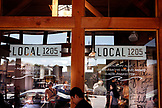 USA, Los Angeles, Venice Beach, an exterior view of Local 1205 Restaurant on Abbot Kinney Boulevard