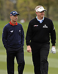 SUZHOU, CHINA - APRIL 15:  Colin Montgomerie (R) of Scotland and Corey Pavin of USA walk on the 9th green during the Round One of the Volvo China Open on April 15, 2010 in Suzhou, China.  Photo by Victor Fraile / The Power of Sport Images