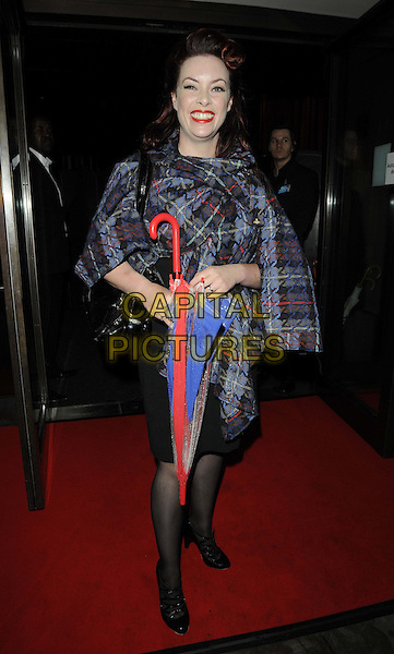 Sharon Marshall.The ITV Summer Party, Aqua bar & restaurant, Argyll St., London, England..July 12th, 2012.full length umbrella black grey gray tartan plaid check jacket.CAP/CAN.©Can Nguyen/Capital Pictures.
