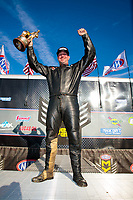 Feb 24, 2019; Chandler, AZ, USA; NHRA top fuel Harley Davidson nitro motorcycle rider Beau Layne celebrates after winning the Arizona Nationals at Wild Horse Pass Motorsports Park. Mandatory Credit: Mark J. Rebilas-USA TODAY Sports