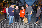 Enjoying the Terrier Racing on Main Street Cahersiveen on Friday evening were l-r; Mel Smith, Kayleigh O'Shea, Stacey O'Donoghue & Jamie Booth with 'Puppy the Dog'.