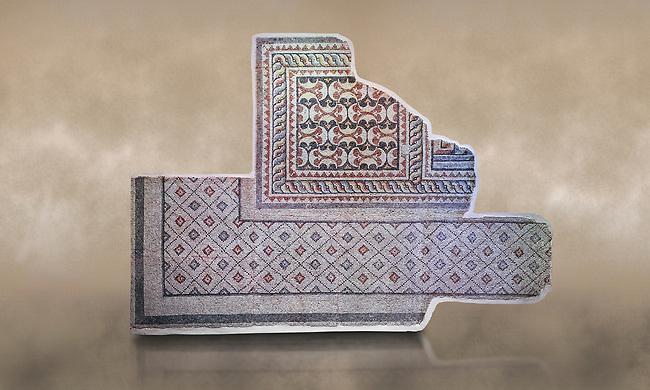 Roman geometric mosaics from Zeugma. 2nd-3rd century AD. Zeugma Mosaic Museum, Gaziantep, Turkey.   Against an art background.