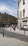 Shops and shoppers on the corner of New Bond Street and Milsom Street, Bath, Somerset, England