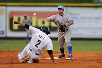 Burlington Royals second baseman Adrian Morales #3 throws over a hard sliding Rio Ruiz to turn a double play during  a game against the Greenville Astros at Pioneer Park on August 17, 2012 in Greenville, Tennessee. The Astros defeated the Royals 5-1. (Tony Farlow/Four Seam Images).
