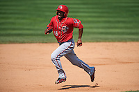 Harrisburg Senators outfielder Brian Goodwin (15) running the bases during a game against the Erie Seawolves on August 30, 2015 at Jerry Uht Park in Erie, Pennsylvania.  Harrisburg defeated Erie 4-3.  (Mike Janes/Four Seam Images)