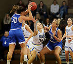 SIOUX FALLS, SD - NOVEMBER 15: South Dakota State Jackrabbits's Sydney Stapleton #35 fights though an illegal screen by Sarah Carr #40 from Dakota Wesleyan during their game Friday evening at the Sanford Pentagon in Sioux Falls, SD. (Photo by Dave Eggen/Inertia)