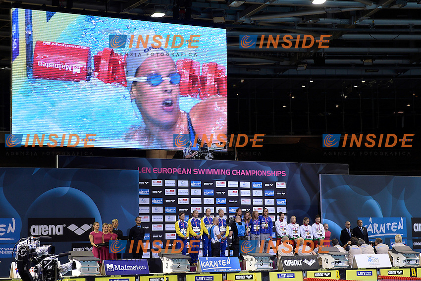 Alice Mizzau, Stefania Pirozzi, Chiara Masini Luccetti, Federica Pellegrini Italia Gold Medal 4x200 Freestyle Relay<br /> Medaglia d'oro Staffetta 4x200m Stile Libero <br /> Swimming <br /> 32nd LEN European Championships  <br /> Berlin, Germany 2014  Aug.13 th - Aug. 24 th<br /> Day09 - Aug. 21<br /> Photo Andrea Staccioli/Deepbluemedia/Insidefoto