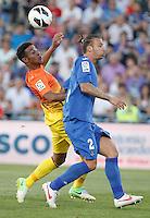 GETAFE, ESPANHA, 15 SETEMBRO 2012 - CAMP. ESPANHOL - GETAFE X BARCELONA - Thiago Alcantara (E) jogador do Barcelona durante lance de partida contra o Getafe em jogo valido pela 4 rodada do campeonato espanhol em Getafe na Espanha, neste sabado. O Barcelona venceu por 4 a 1 e se mantem na lideranca. (FOTO: ALFAQUI / BRAZIL PHOTO PRESS).