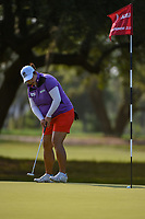 Shanshan Feng (CHN) sinks her putt on 1 during round 1 of the 2019 US Women's Open, Charleston Country Club, Charleston, South Carolina,  USA. 5/30/2019.<br /> Picture: Golffile | Ken Murray<br /> <br /> All photo usage must carry mandatory copyright credit (© Golffile | Ken Murray)