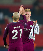 Manchester City's Kevin De Bruyne celebrates with team mate David Silva <br /> <br /> Photographer Craig Mercer/CameraSport<br /> <br /> The Premier League - Tottenham Hotspur v Manchester City - Saturday 14th April 2018 - Wembley Stadium - London<br /> <br /> World Copyright &copy; 2018 CameraSport. All rights reserved. 43 Linden Ave. Countesthorpe. Leicester. England. LE8 5PG - Tel: +44 (0) 116 277 4147 - admin@camerasport.com - www.camerasport.com