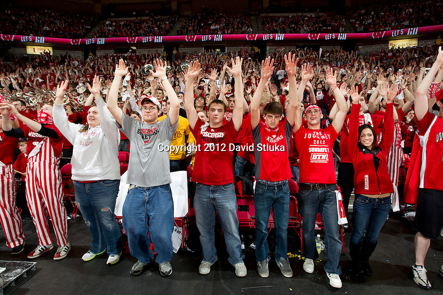 Wisconsin Badgers fans cheer during a Big Ten Conference NCAA college basketball game against the Minnesota Golden Gophers on Tuesday, February 28, 2012 in Madison, Wisconsin. The Badgers won 52-45. (Photo by David Stluka)