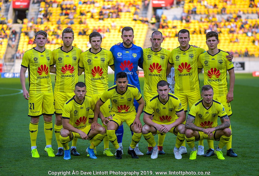 The Phoenix starting XI for the A-League football match between Wellington Phoenix and Brisbane Roar at Westpac Stadium in Wellington, New Zealand on Saturday, 23 November 2019. Photo: Dave Lintott / lintottphoto.co.nz
