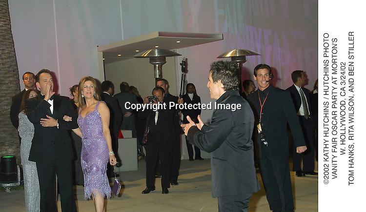 ©2002 KATHY HUTCHINS / HUTCHINS PHOTO.VANITY FAIR OSCAR PARTY AT MORTON'S.W. HOLLYWOOD, CA 3/24/02.TOM HANKS, RITA WILSON, AND BEN STILLER
