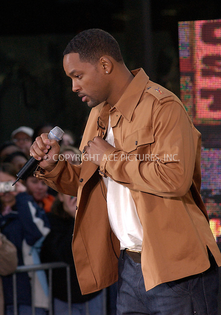 WWW.ACEPIXS.COM . . . . . ....NEW YORK, MARCH 30, 2005....Will Smith performs live on the NBC Today Show at Rockefeller Center.....Please byline: KRISTIN CALLAHAN - ACE PICTURES.. . . . . . ..Ace Pictures, Inc:  ..Craig Ashby (212) 243-8787..e-mail: picturedesk@acepixs.com..web: http://www.acepixs.com