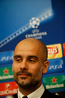 Pep Guardiola coach of Manchester City attends a press conference at the eve of the Champions League  soccer match against Napoli ,   31/10/2017