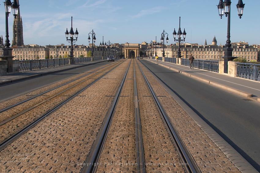 The old bridge Pont de Pierre. Porte Bourgogne or des Salinieres. Bordeaux city, Aquitaine, Gironde, France