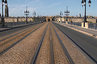 The old bridge Pont de Pierre. Porte Bourgogne or des Salinieres. Bordeaux city, Aquitaine, Gironde, France